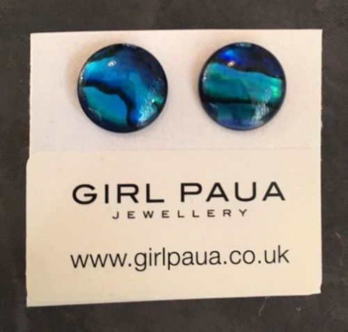 Paua Stud Earrings PE04 12mm BLUE CIRCLE (Medium-5)